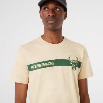 New Era NBA Milwaukee Bucks Team Logo Stripe T-Shirt ''Beige''
