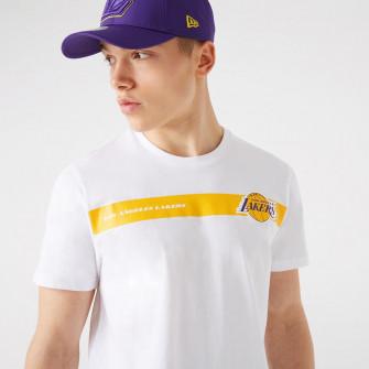 New Era NBA LA Lakers Team Logo Stripe T-Shirt ''White''