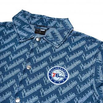 New Era NBA Philadelphia 76ers Denim Coaches Jacket ''Blue''